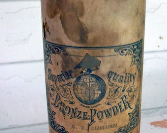 Antique Apothecary Jar Tin Beautiful Label German original contents