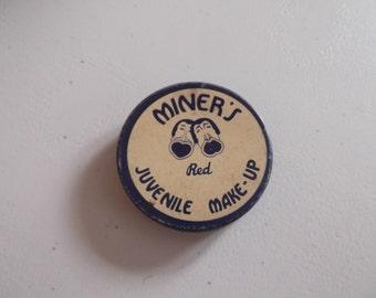 "Vintage 1930s Make-Up MINER'S Master""s Of Make-Up Since 1864 Red Juvenile Theatrical"