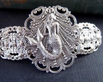 Mermaid barrette in ox sterling silver plated brass