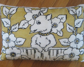Vintage Hand Embroidered Dog and Floral Pillow - REDUCED Closing Shop