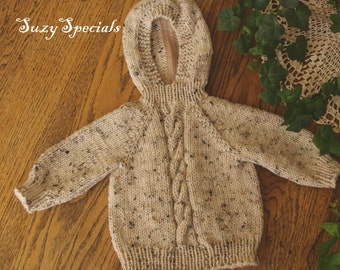 Hooded Knitted Baby Sweater with Back Zipper. Beige