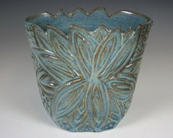 Carved and Textured Blue Ceramic Vase with Flower Carving