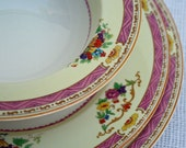 Antique Myott bone china place setting, vintage pink dinner plate, salad plate, bowl, English plate and bowl set, pink dinner set