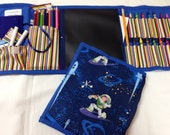 NEW  Space Buzz  Art Tote complete with chalkboard, chalk, eraser, paper pad, pencil, crayons, and colored pencils