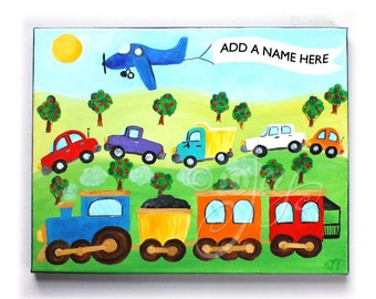 Personalized SKY WRITING painting for kids, 14x11 Acrylic Canvas, Add a name transportation art
