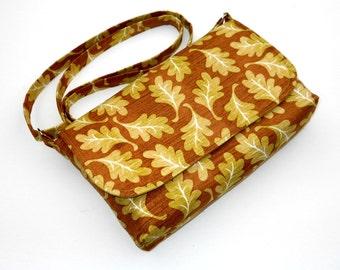 Small Cross Body Bag, Mini Messenger Bag, Fall Cotton Pocketbook, Small Purse, Everyday Bag - Green Leaves on Brown, Long Crossbody Strap