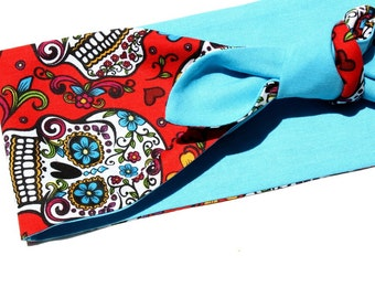 Vintage Inspired Head Scarf, Turquoise and Red, Sugar Skulls