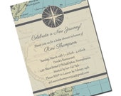 Travel Baby Shower Invitation - Map - Personalized Printable File or Print Package Available - New Journey #00013-PIA7