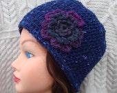 Blue Flower Hat Wool Beanie Made in Ireland