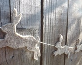 Hare Garland, Spring Bunting, Hare Art, Rabbit Nursery, Rabbit Garland, Rabbit bunting, Rustic decor, Felt Garland, Hare Art, Spring