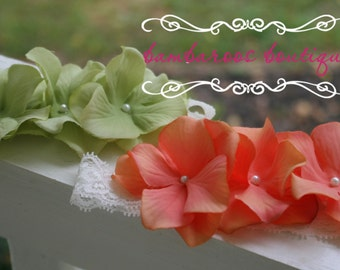 baby headband, newborn headband, small flower headband, green headband, peach headband