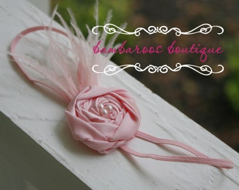 feather newborn headband, pink flower headband, feather baby headband, photography props, pink headband