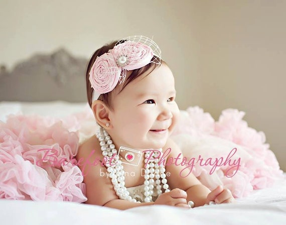 Pink newborn Headband, newborn headband, toddler headband, infant headband, baby headband, headbands for baptism, christening headbands