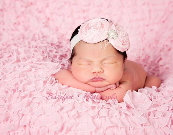 Vintage Baby headband, newborn headband, pink headband, photography prop, netting