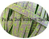 New Wonkie Swirls Glitter Grograin ribbon 5 yards- 3/8 inch Lime/Grape Sparkle Swirls hair bow craft trim ribbon