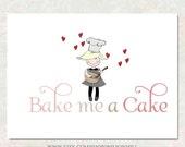 Premade Business Logo and Watermark - Boutique Logo Design - Blog Logo  - Cake Logo - Cute Girl Baking