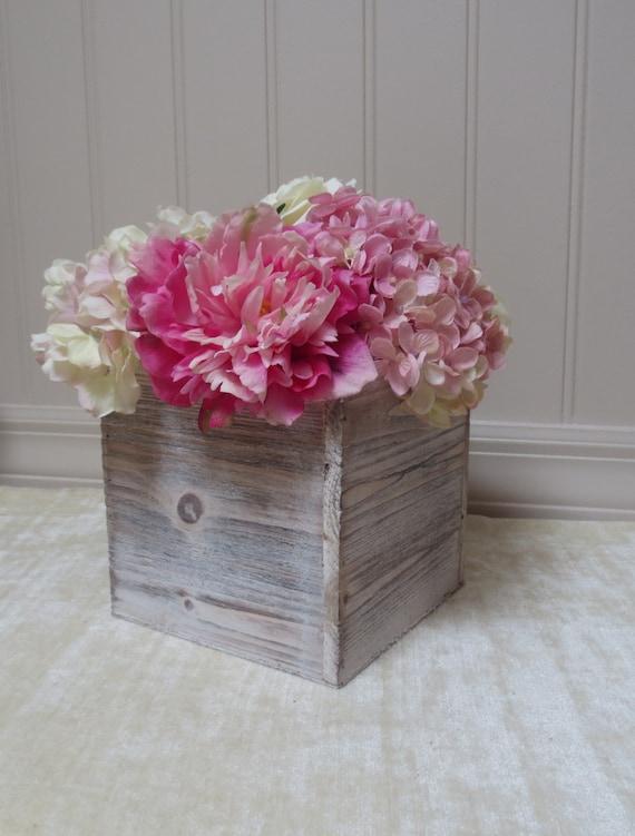 Wood vase large planter box rustic wedding by birchhousemarket
