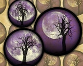 Dead Trees and Full Moons on Purple Skies--Halloween Digital Collage Sheet Bottlecap Circles-- Instant Download