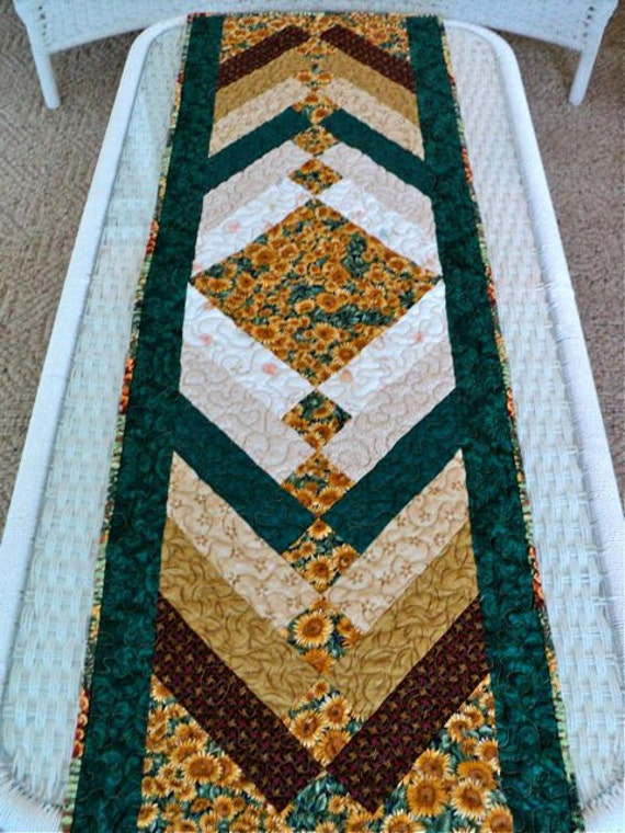 Braid Quilt Pattern Table Runner : Quilted French Braid Sunflower Table Runner / by DocksideDesigns