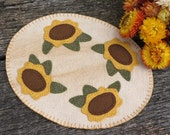Field of Sunflowers Penny Rug Candle Mat