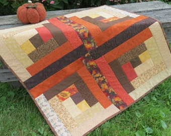Autumn Harvest - Log Cabin / Quilted Table Runner - Reversible