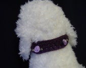 Toy dog purple collar with lavender flowers, button closure, 9 inches
