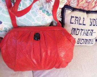 80s RUTH E. SALTZ--Softest Red Leather--Clutch or Shoulder Bag--Black Medallion--Puffy