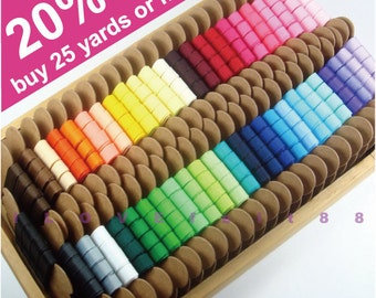 """3/8"""" Solid Color Grosgrain Ribbon / Pick your own color / 48 colors to choose from / 5 colors / 5 Yards for each color"""