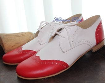 70% SALE Oxford shoes Red & White leather Lady Oxford Shoes Mafia Oxford Customized shoes