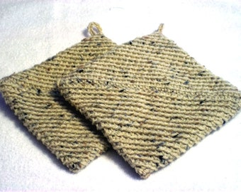Crochet Pot Holders Double Thick Hot Pad Color Buff