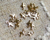 24pcs Metal Cross Charms Drops Gold Plated 5.5x4mm Drop Small