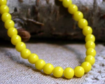 66pcs Preciosa Czech Pressed Glass Druk Beads 6mm Round Yellow Opaque 16in