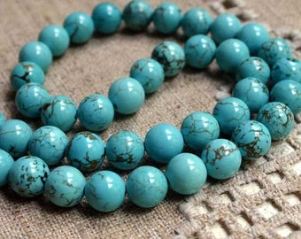 40pcs 10mm Blue Magnesite Natural Gemstone Beads 16 Inches Strand