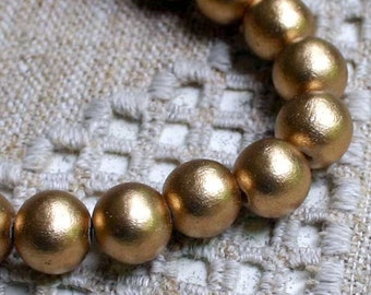 20pcs 20mm Wood Natural Metallic Gold Round Beads 16in Strand