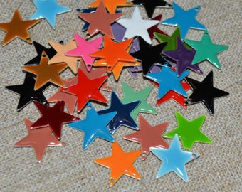 12pcs Charms Silver Plated Colored Epoxy 17mm Star Mixed Colors