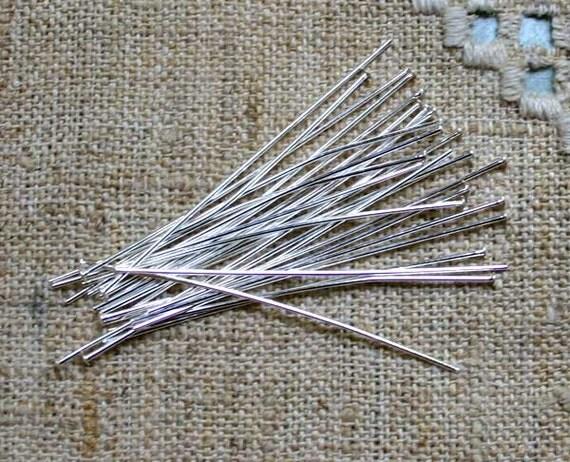 100pcs Headpins Silver-Plated Brass 1/2-Inch 22 Gauge