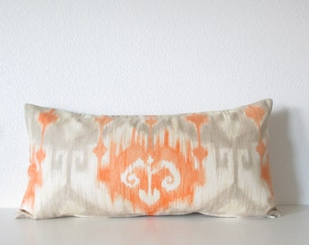 Richloom Marlena Ikat Orange light gray decorative pillow cover