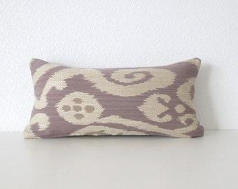Decorative pillow cover - Mini Lumbar Pillow - 8x16 - Ikat - Lilac -Taupe - Copper - Ikat Pillow  - Accent Pillow - Designer Pillow