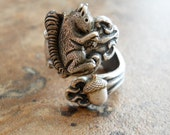 Squirrel and Acorn Spoon Ring, Squirrel Ring, Spoon Ring, squirrel acorn, silver squirrel,