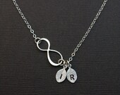 Personalized Infinity Charm Initial Necklace, Monogram Infinity Charm, Monogram Necklace,Silver or Gold, Birthday Gift