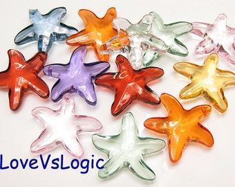 8 Starfish Acrylic Facet Charms. Mix Colors.Icey Tone