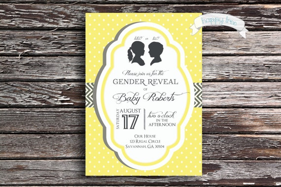 Gender Reveal Party Invitation - Modern Classic Design with Silhouettes and Your Choice of Colors