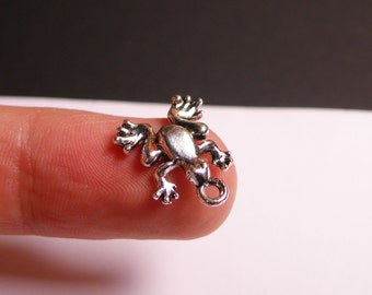 Frog Silver color charms - 25 pcs -  silver small frog charms - hypoallergenic - ASA1