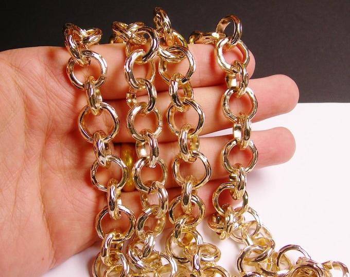 Gold chain - lead free nickel free won't tarnish - 1 meter - 3.3 feet - aluminum chain  - NTAC34