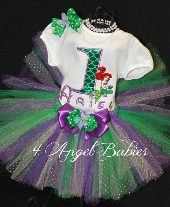 Girls Birthday Tutu Outfit Little MERMAID Princess or Flounder inspired Purple & Green 3 Piece Glitter Set Choose Size, Name, Colors
