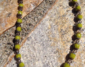 "NECKLACE, CZECH BEADS,Olive green, smoky brown crystals, 18"" length, Classic, gold clasp"