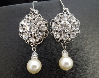 Pearl Bridal Earrings,Wedding Pearl Earrings,Ivory or White Pearls,Pearl Rhinestone Earrings,Statement Bridal Earrings,Pearl,Bride,SUSAN