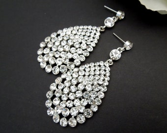 Bridal Rhinestone Earrings Statement Bridal Earrings bridal Chandelier Earrings Bridal rhinestone Earrings Wedding Rhinestone Earrings JESS