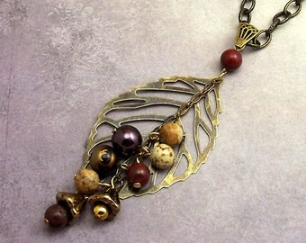Leaf Gemstone Bead Necklace, Antiqued Brass, Browns, Earth Tones