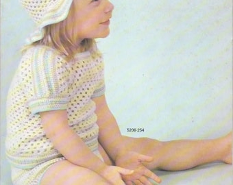 Crochet Pattern - Vintage Crochet Pulllover, Pants and Hat Set PDF Pattern - 5206-254 - Instant Download